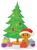 Teddy bear, gifts and Christmas tree. Holiday cartoon, teddy bear Santa Claus with gifts under the Christmas tree Stock Photography