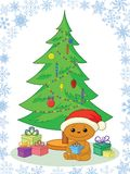 Teddy bear, gifts and Christmas tree Stock Images