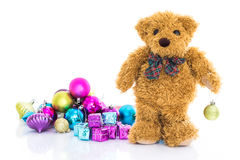 Teddy bear with gifts and ornaments christmas Stock Images