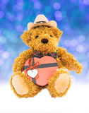 Teddy bear with gifts and ornaments new year Stock Photo