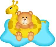 Teddy Bear in Giraffe Buoy Stock Photos