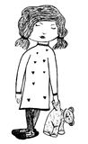 Teddy Bear Girl. Black and white ink illustration of storybook girl and teddy bear Royalty Free Stock Photography