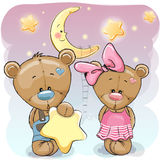 Teddy Bear Girl and Boy with a star. Cute cartoon Teddy boy gives a Teddy girl a star Royalty Free Stock Images