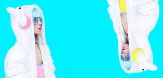 Teddy Bear Girl DJ Partie folle d'hiver Photographie stock libre de droits