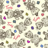Teddy bear girl in funny dress and boy in cylinder hat and vest with bow tie, hand drawn doodle sketch, seamless pattern design on royalty free stock image