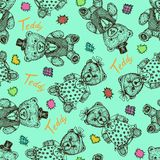 Teddy bear girl in funny dress and boy in cylinder hat and vest with bow tie, hand drawn doodle sketch, seamless pattern design royalty free stock photography