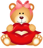 Teddy bear girl holding lips Stock Image