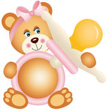 Teddy bear girl holding pink baby pacifier Stock Image