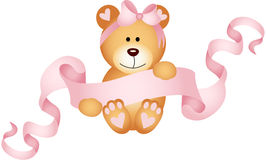 Teddy bear girl holding a pink ribbon banner Stock Photo