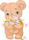 Teddy bear giving bouquet stock illustration