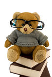 Teddy Bear, Glasses And Pile Of Old Books Royalty Free Stock Photos