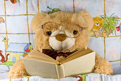 Teddy-bear with glasses reading a book Stock Photos