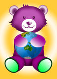Teddy bear with Globe Stock Image