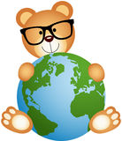 Teddy Bear with Globe Royalty Free Stock Photo