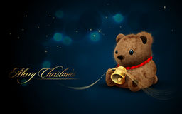 Teddy Bear with Golden Bell. | Vector Flares and Lights | Christmas Card royalty free illustration