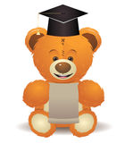 Teddy Bear in Graduation Hat Royalty Free Stock Photos