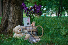 Teddy bear on the grass with flowers. Background tree, a bouquet of flowers and a small teddy bear Stock Images