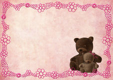 Teddy bear greeting card with pink flowers Stock Images