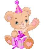 Teddy Bear hållande gåva Arkivbild