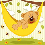 Teddy bear on hammock Stock Photo