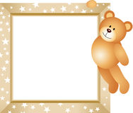 Teddy Bear Hanging in the Frame Royalty Free Stock Photos