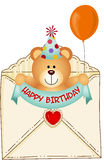 Teddy Bear in Happy Birthday Envelope Royalty Free Stock Photo