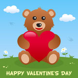 Teddy Bear Happy Valentine s dagkort Arkivfoton