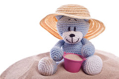 Teddy bear with hat and  pink basket Stock Image