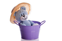 Teddy bear with hat in a purple bathtub Royalty Free Stock Images