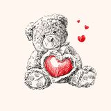 Teddy bear with  heart. Hand drawn illustration of  teddy bear with  heart Royalty Free Stock Photography