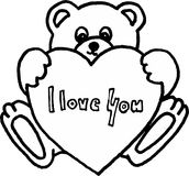 Teddy bear with heart. I love you on white background.  image. profession of love Stock Photo