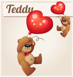 Teddy bear with heart balloon Royalty Free Stock Image
