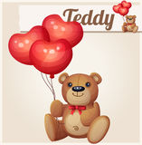 Teddy bear with heart balloons Royalty Free Stock Image