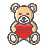 Teddy bear with heart filled outline icon Royalty Free Stock Image