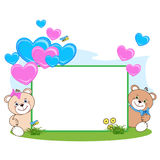 Teddy bear with heart frame stock image