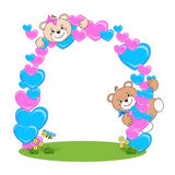 Teddy bear with heart frame stock photography