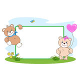 Teddy bear with heart frame royalty free stock photography