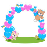 Teddy bear with heart frame royalty free stock images
