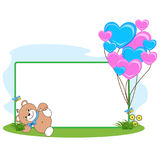 Teddy bear with heart frame stock images