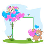 Teddy bear with heart frame stock photos
