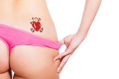 Teddy bear with heart glitter-tattoo Royalty Free Stock Photo