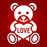 Teddy bear with heart glyph icon, valentines day Royalty Free Stock Images