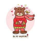 Teddy bear with heart. Happy Valentines day greeting card with cute teddy bear holding heart. Adorable animal illustration for Valentines Day design Stock Photo