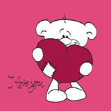Teddy bear with heart and i love you text Royalty Free Stock Image