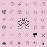 Teddy bear with heart icon. Detailed set of Valentine icons. Premium quality graphic design sign. One of the collection icons for. Websites, web design, mobile Royalty Free Stock Image