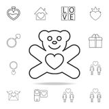 Teddy bear with heart icon. Set of Love element icons. Premium quality graphic design. Signs, outline symbols collection icon for. Websites, web design, mobile Stock Image