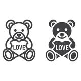 Teddy bear with heart line and glyph icon. Valentines day and romantic, toy sign vector graphics, a linear pattern on a white background, eps 10 Stock Photos