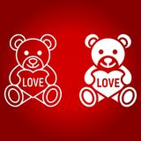 Teddy bear with heart line and glyph icon. Valentines day and romantic, toy sign vector graphics, a linear pattern on a red background, eps 10 Stock Image