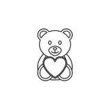 Teddy bear heart line icon, soft toy Stock Photos