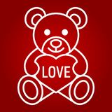 Teddy bear with heart line icon, valentines day Stock Photos